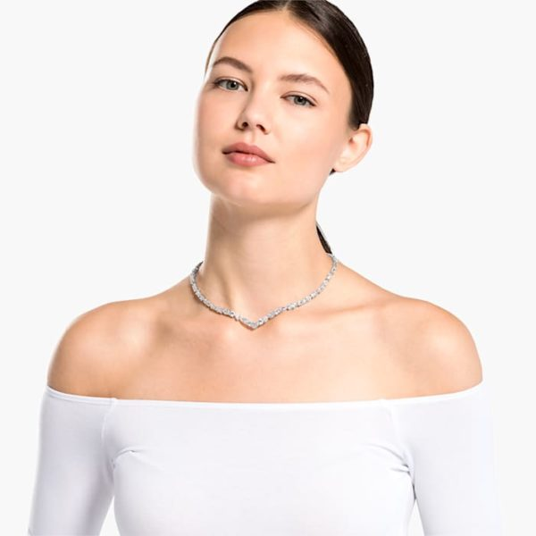 TENNIS DELUXE MIXED V NECKLACE, WHITE, RHODIUM PLATED | Boutique ...
